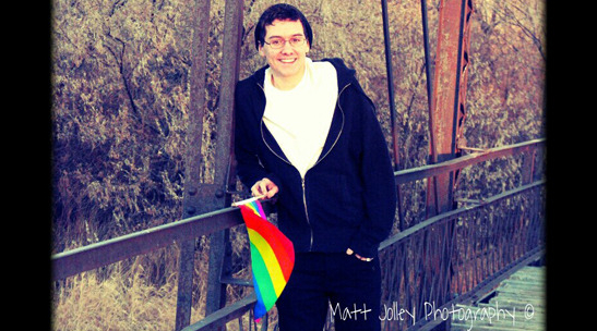 "Matt Jolley is an openly-gay high school senior from Worland High School (Worland, Wyoming).  This photo is being rejected from his yearbook because it is ""too political."""