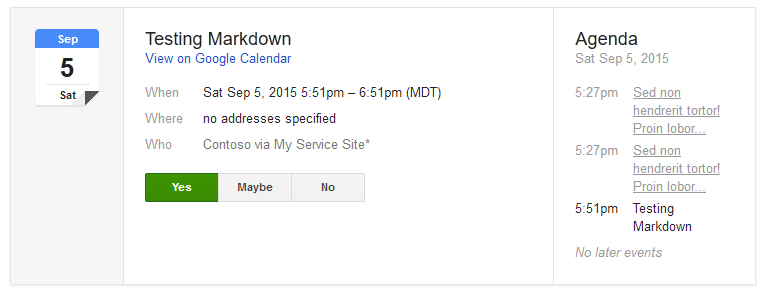 When an ICS/ICAL file is formed properly, Google will show RSVP buttons.